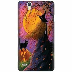 Printland Designer Back Cover For Sony Xperia C4 - Black cat Designer Cases