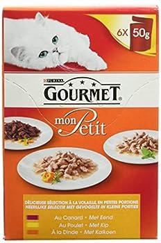 Gourmet Mon Petit au Poulet, au Canard, à la Dinde  - 6 x 50 g - Sachets Fraîcheur pour Chat Adulte - Lot de 8