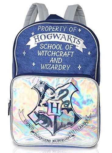 Harry Potter Zaino Scuola Hogwarts Express per Donna, Ragazza, Borsa Backpack Zaino Olografico E Stampa Denim in Blu e Argento per Scuola e Viaggi, Idea Regalo Harry Potter