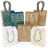 Sac cadeau Arteza pack de 15 | 3 sacs chaque modèle, 5 motifs en tout | Sac cadeau Noël lot, anniversaire, fêtes | 24 x 17,8 x 8,6 cm | Sac blanc bleu et sac papier kraft avec poignées