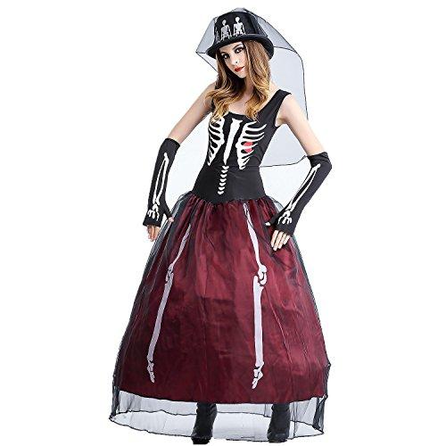 JYSPORT Halloween Kostüm Damen Cosplay Fasching Kleid Zombie Leiche Abendkleider Vampir Karneval Anime Outfit (Hut Dienstmädchen Kostüm)