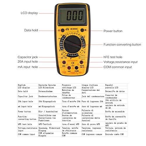 DT-832 Multimetro digitale tascabile 1999 Conteggi AC//DC Volt Amp Ohm Diodo hFE Continuit/à Tester Amperometro Voltmetro Ohmmetro Giallo