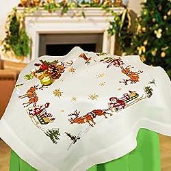 Kamaca - Kit de punto de cruz para mantel (algodón, mantel de 80 x 80 cm), diseño navideño con Papá Noel y trineo