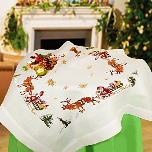 """Wundervolle Stickpackung """" FRÖHLICHE WEIHNACHTEN """" mit zauberhaften Rentieren und dem Weihnachtsmann auf einem Schlitten - Stickdecke 80 cm x 80 cm - Kreuzstich vorgezeichnet - Stickgarn aus 100 % Baumwolle - qualitativ hochwertig - zum Sofort-Loslegen - Mitteldecke 80x 80 - zum Selbersticken - aus dem KAMACA-SHOP - Advent Weihnachten Herbst"""