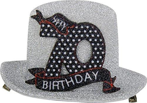 Geburtstag Hut mit Clip 70 Party Deko Spaß Hutzylinder in grau Happy 70 Birthday 12x11x6 cm