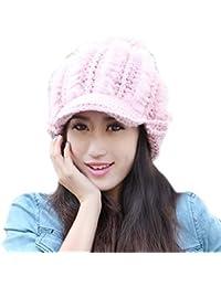 Smarstar Chapeau Fourrure En Lapin D'élevage Tricoté Bonnet Femme chapka en hiver femme Chaud Tricotage Crochet Bonnet-Rose