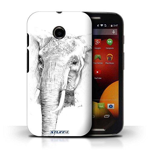 Kobalt® Imprimé Etui / Coque pour Motorola Moto E (2014) / Aigle / Oiseau conception / Série Dessin Croquis éléphant
