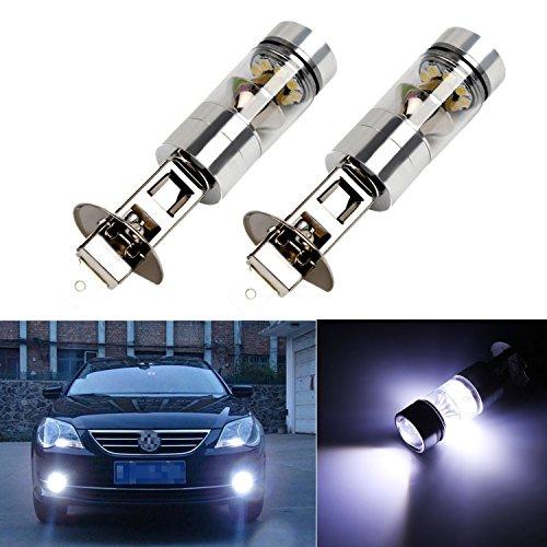 FEZZ LED Bombillas de Coche Auto LED H1 100W Sharp 20SMD Lamparas Iluminación Para faros antiniebla DRL 6500K Blanco Frío (Paquete de 2)