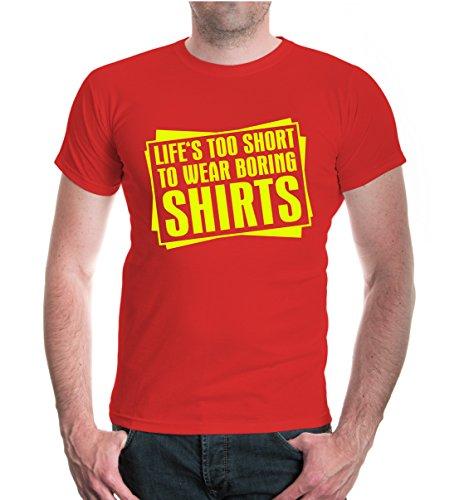 buXsbaum® T-Shirt Lifes too short to wear boring Shirts Red-Neonyellow