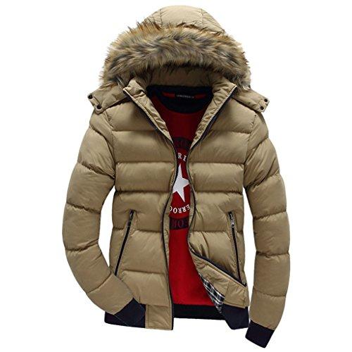 YOUR GALLERY Uomo Cappotto Casuale con Cappucio Sportiva Manica Lunga Invernale Cotone Cerniera cachi1-L
