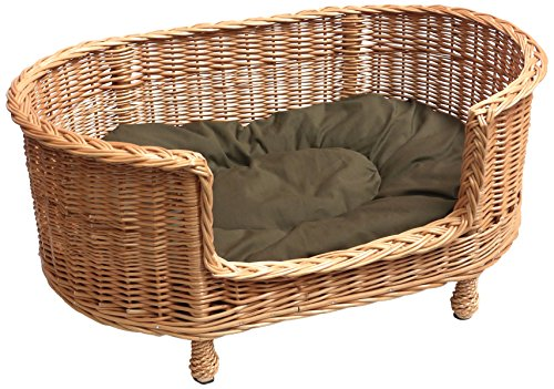 Prestige Wicker Luxury Willow Dog Basket Settee with Cushion, Large