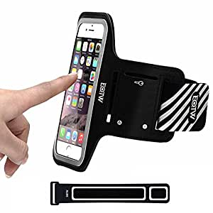 iPhone 6 / 6S Plus Armband, EOTW Sweat Proof Lightweight Sports Exercise Armband For Apple iPhone 6 / 6S Plus 5 5S SE , Samsung Galaxy S7/S6/S5/S4/S3 For Jogging, Running, Exercising (BLACK 5.5INCH)