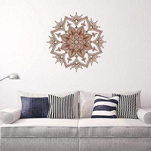 Ouneed® Wandaufkleber Wandtattoo Wandsticker , Mandala Blumen-Schlafzimmer Wand Abziehbild Kunst Aufkleber Wandgemälde Zuhause Vinylfamilie (Braun) (Braun-wand-abziehbilder)