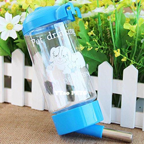 Gogogo 350 mL Haustier Tränke Automatisch Reise Haus Katze Hunde Welpen Trinkwasser Fütterung Hängen Flasche Hellblau