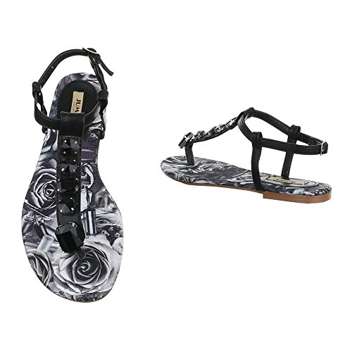 Damen Sandalen Schuhe Strass Sandaletten Strandsandalen Schwarz 36 37 38 39 40 41 Schwarz