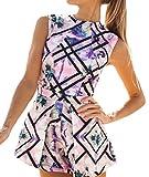 Damen Sommer Jumpsuits Playsuit Kurz Ärmellos Rundhals Blumendrucken Elegant Catsuit Tailliert Frauen Slim Weiches Unique Overall Spielanzug 34-40