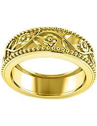 925 Sterling Silver Leaf Flowers Engraved Engagement Pre Engagement Ring