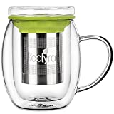 Tealyra - Venus - 400ml - Double Wall Glass Tea Cup with Lid and Stainless Steel Infuser Basket - Perfect Tea Mug for Office and Home Uses for Loose Leaf Tea Steeping