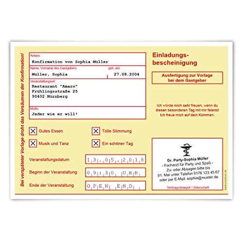 30 x Witzige Einladungskarten Konfirmation Einladungen Konfirmationskarten - Krankschreibung Krankmeldung AU Gelb
