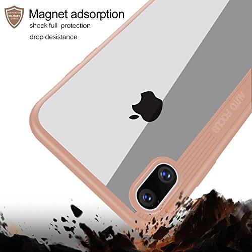 Coque iPhone X, KuGi Amortisseur Ultra TPU avec étui rigide pour Apple iPhone X Smartphone(Poudre) Poudre