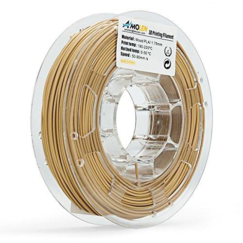 AMOLEN Impresora 3D Filamento PLA 1.75mm, Madera 225G,+/- 0.03mm Materiales de impresión 3D de Filamento, incluye Muestra de Brillante Plata y Filamento Flexible Blanco.