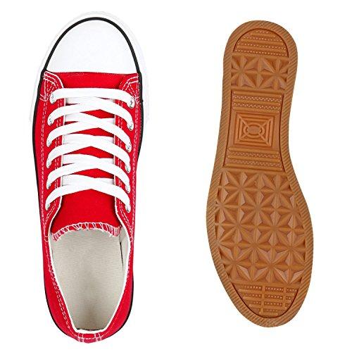Damen Sneakers Kult Sportschuhe 70862 Stoffschuhe Schnürer Gr. 36-41 Rot