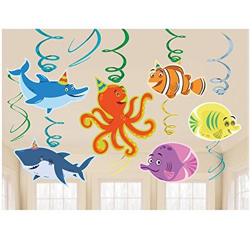 Meerestiere Kostüm - PARTY DISCOUNT Neu Girlanden-Set Meerestiere spiralförmig 12 Stk.