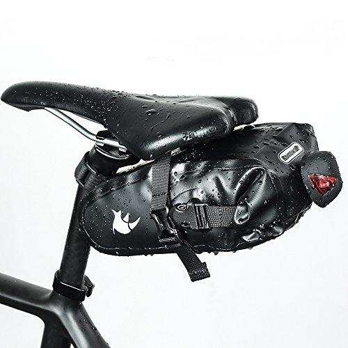 SKYSPER Bolso Bolsa de Sillín para Bicicleta Asiento Trasero Ciclismo Bici Montaña Carrera Impermeable Bolsa de Almacenamiento 24x8x8.5cm Negro