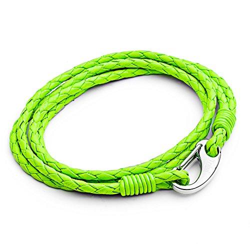 Tribal Steel, 21cm langes Herrenarmband aus neon-grünem Leder, doppelt gewickelt mit Edelstahlkarabiner