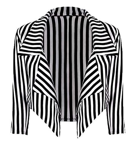 Blazer Gestreifte Kostüm - Loxdonz Frauen ¾ Ärmel Streifen Drucken vorne offen Wasserfall Crop Klubjacke Jacke Mantel Blazer (SM/EU (36-38), Schwarz/weiß)