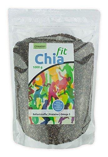 Chia-Fit - Graines de Chia Cru 1 kg - Bonne Source de Acides Gras Oméga, Protéines, Fer et Antioxydants
