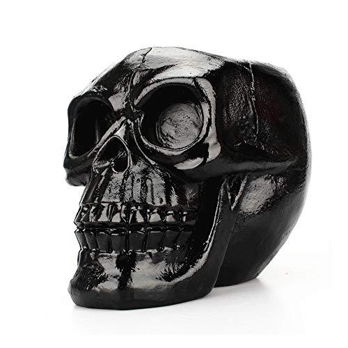 Kopf Schreibwaren Halter Schwarz Schädel Bleistift Halter Büromaterial Schädel Figur Skelett Statue Halloween ()