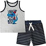 CARETOO Baby-Jungen Bekleidungsset Baumwolle Sommerkleidung Set Dinosaurier/Krake/Monster/Hai Drucken Kinder Tank Tops + Kurze Hosen Pyjama für 1-5 Jahre