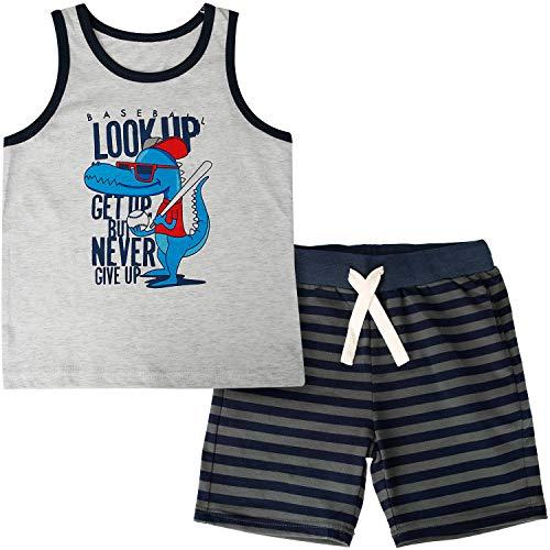 CARETOO Baby-Jungen Bekleidungsset Baumwolle Sommerkleidung Set Dinosaurier/Krake/Monster/Hai Drucken Kinder Tank Tops + Kurze Hosen Pyjama für 1-5 Jahre -