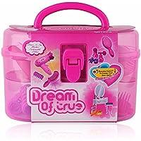 GZQ 1 Set Juguete Peluquería y Belleza, Jueguete del Cosmetico para Niña,Juguetes con maletin Belleza Princesa,Color Rosa