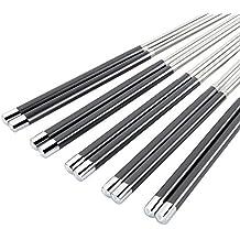 Bytan 5 pares de palillos chinos de acero inoxidable 304L antideslizantes 24,3 cm