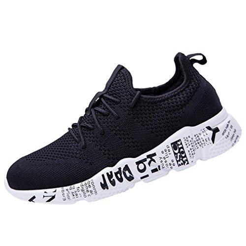 IGEMY Männer Sneaker ☆ Einfarbig Kreuz Gebunden Anti Skidding Sneaker ☆ Mesh Atmungsaktive Belüftung Runde Zehe Schuhe ☆ Herren Laufende Gym Lace up Schuhe (EU:42, Schwarz)