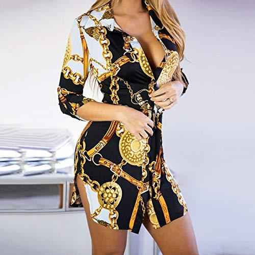 FYERM New Print Damen Kleid Nachtclub Lace Short Dress Bend Hem Chain Print Gürtel Freizeithemd Kleid -