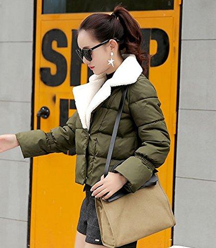ZKOO Damen Revers Jacke Steppjacke übergangsjacken Warm Winterjacken Kunstpelz Mäntel Oberbekleidung Armeegrün