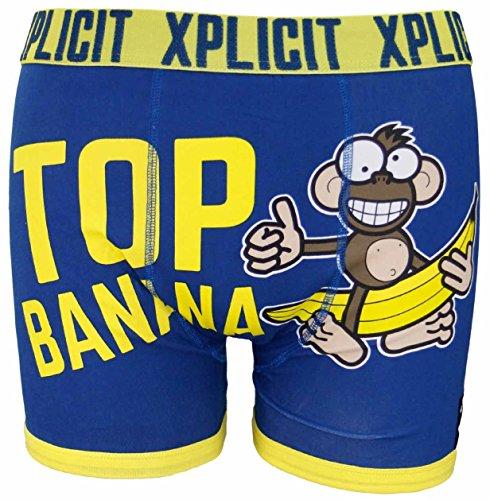 Xplicit Herren 'Suck Itself' Komisch Neuheit Slogan Herrenboxer Retroshorts Top Banana 3 Estate Blue