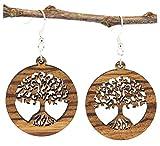 NaturSchatulle Holzschmuck Holzohrringe Baum des Lebens Zebrano I Lebensbaum natürliche Ohrhänger 925 Silber Holz Ohrringe Damen Ohrschmuck