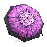 Compact Umbrella, Oak Leaf Automatic Open& Closed Folding Umbrella Purple Floral Canopy Travel Rain Umbrella For Ladies or Men Lightweight for Easy Carry ¡