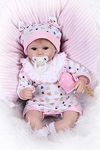 Nicery Reborn Baby Doll Soft Simulation Silicone Vinyl 18inch 45cm Magnetic Mouth Lifelike Boy Girl Toy White Bib Eyes