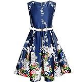 KK64 Girls Dress Navy Blue Flower Belt Vintage Party Age 10 Years