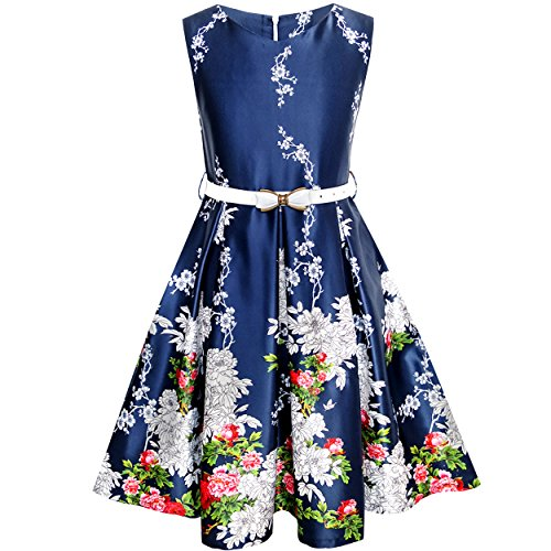 Sunny Fashion Girls Dress Navy Blue Flower Belt Vintage Party Age 6-14 Years
