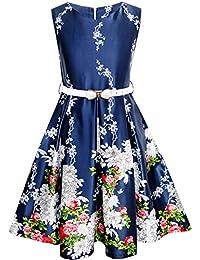 Mädchen Kleid Marine Blau Blume Gürtel Jahrgang Gr. 110-158