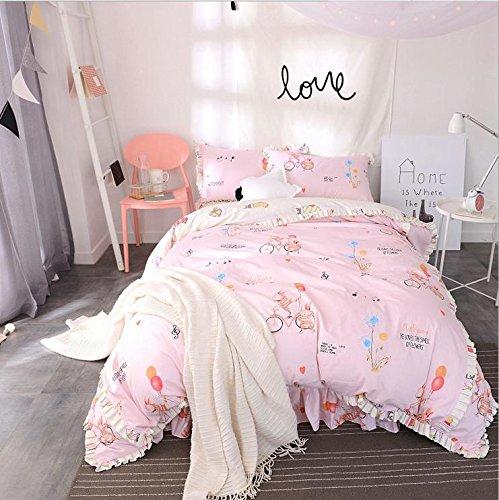 Koreanische Art Bettwäsche Vier Bedspreads Sets aus reiner Baumwolle Lotus Lace Prinzessin Bed Rock , 8 , 200*230 -
