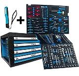 Werkzeugwagen Werkzeugkiste von DeTec. mit Werkzeug | Werkstattwagen Aufsatz in blau