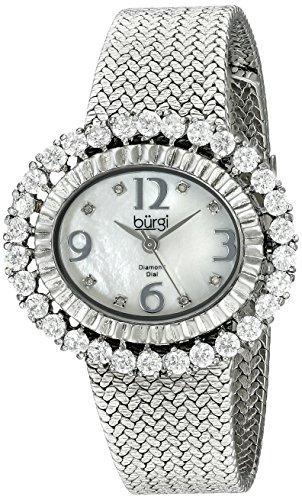 Burgi Femme Nacre en Maille Diamant Montre Bracelet