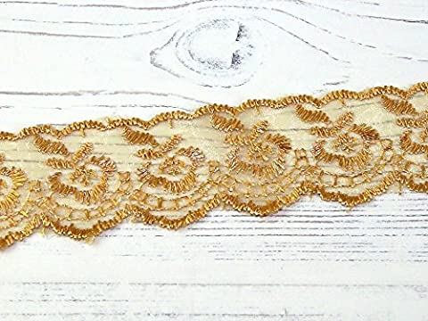 Embroidered Lace Trimming - per 2 metres